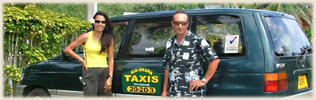 Lyza and Frank from Kia Orana Taxis with Transfer Car / photo: Sarina
