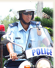 local policewomen on motorbike