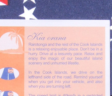 """Rules of the road"" flyer handed out by Cook Islands Police"