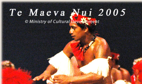 Dance Group from Aitutaki with ura pau - Te Maeva Nui 2005 / Cook Islands