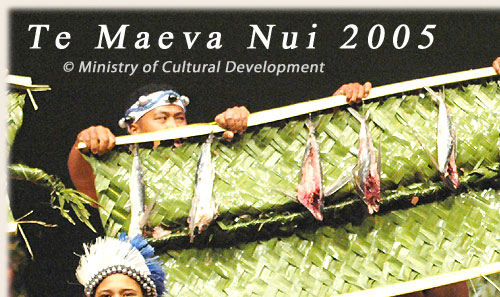 Dance Group from Mitiaro with ura pau (drumdance) - Te Maeva Nui 2005 / Cook Islands