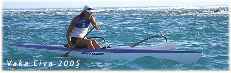 Vaka Eiva 2005 outrigger canoe paddling / above Serena Hunter / photo: Archi